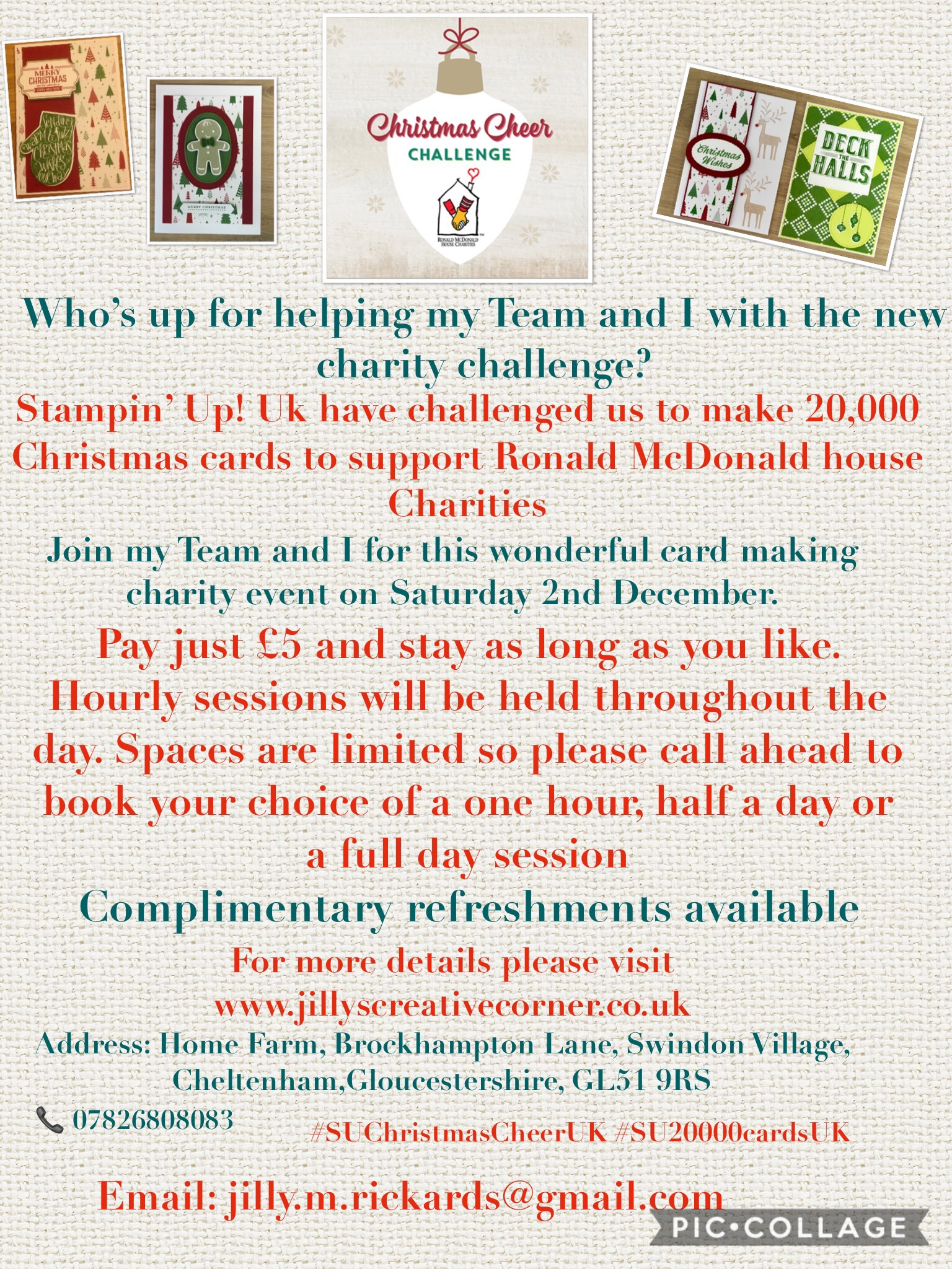 Help needed for an amazing Charity Christmas card making Event 😃